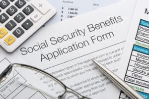 Close up of social security application